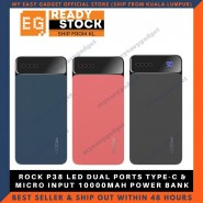 ROCK P38 LED DUAL PORTS TYPE-C & MICRO INPUT 10000MAH POWER BANK