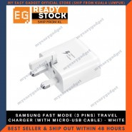 Original Samsung Fast Mode (3 Pins) Travel Charger (With Micro-Usb Cable) - White