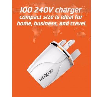 MOXOM KH36 2 USB PORT FAST CHARGING 2.4A WALL CHARGER TRAVEL ADAPTER