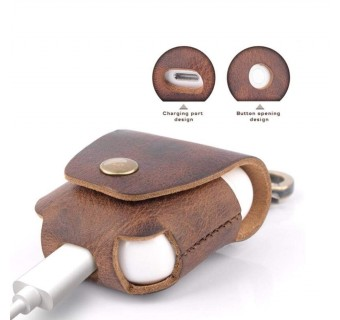 I-SMILE MARS SERIES GENUINE LEATHER RETRO HANDMADE AIRPODS CASE WITH COPPER CLASP RING [KL SELLER]