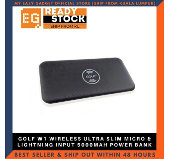 GOLF W1 WIRELESS ULTRA SLIM MICRO & LIGHTNING INPUT 5000MAH POWER BANK - BLACK