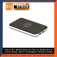 GOLF W1 WIRELESS ULTRA SLIM MICRO & LIGHTNING INPUT 5000MAH POWER BANK - BLACK