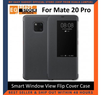 Huawei Mate 20 / Mate 20 Pro Case Original Pu Luxury Leather Flip Cover Full Protection Smart Window View Phone Case(Free Tempered Glass)