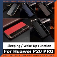 Huawei P20 Pro Case Original Pu Luxury Leather Flip Cover Full Protection Smart Window View Phone Case (Free Tempered Glass)