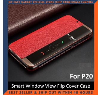 Huawei P20 / P20 Pro Case Original Pu Luxury Leather Flip Cover Full Protection Smart Window View Phone Case (Free Tempered Glass)