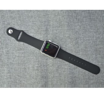 42MM / 44MM 1:1 Size Strap Silicon Watch Band Strap for Apple Watch 1 2 3 4 - Black