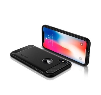 SPIGEN RUGGED ARMOR IPHONE X CASE COVER CASING - BLACK [CLEARANCE]