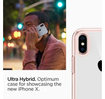 SPIGEN ULTRA HYBRID CASE FOR APPLE IPHONE X - ROSE GOLD [CLEARANCE]