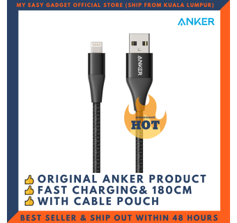ANKER A8453 POWERLINE+ II MFI CERTIFIED LIGHTNING CABLE FOR IPHONE IPAD 180CM