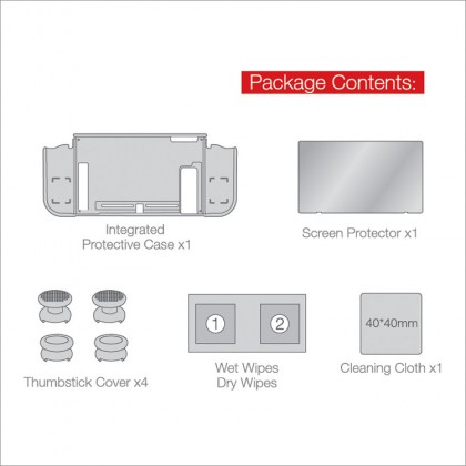Dobe 3 in 1 Nintendo Switch Protective Pack TPU Casing Tempered Glass Thumb stick Cover TNS-1899