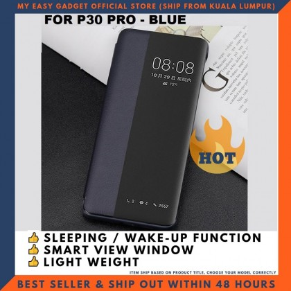 Huawei P30 P30 Pro Case Original Pu Luxury Leather Flip Cover Full Protection Smart Window View Phone Case (Free Tempered Glass)