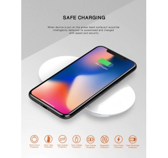LDNIO PW1003 UNIVERSAL WIRELESS CHARGING POWER BANK 10000 MAH - WHITE