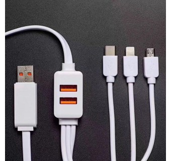 USB TO TYPE C / LIGHTNING / MICRO USB / 2 PORTS USB FEMALE 5 IN 1 CABLE, MULTI-FUNCTIONAL DESIGN