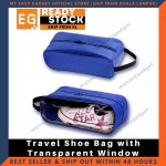 Travel Shoe Bag with Transparent Window 33cm x 12cm x 12cm Waterproof Case Bag - Blue (L SIze)