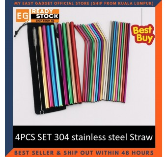 4PCS SET 304 stainless steel Straw Group Ice Blaster cup stainless steel straw metal drinking straw tea straw reusable straw 4 into group bag set straw