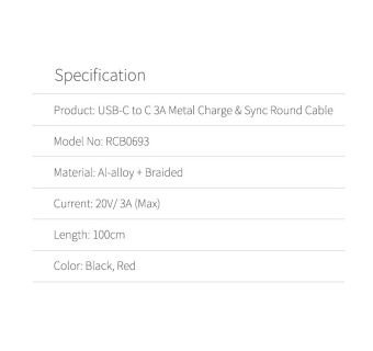 ROCK Type C to C 3A Metal Fast Charge & Sync Round Data Cable