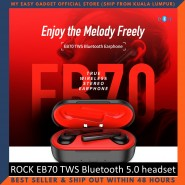 ROCK EB70 TWS Bluetooth 5.0 Wireless Stereo Bluetooth Headset