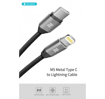 Rock space M5 Type C to Lightning Fast Charge Cable & Sync