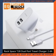 Rock Space T28 Dual Port Travel Charger 2.4A With Micro USB Cable