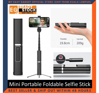 Wireless Mini Portable Foldable Selfie Stick Aluminum Holder Monopod Selfie Stick Mobile Tripod Phantom999 - Black