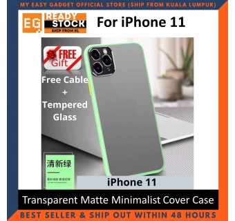 iPhone 11 Pro 11 Pro Max 11 Case Matte Minimalist Cover iPhone Shockproof Translucent Casing Free Cable + Tempered Glass
