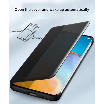 Huawei P40 / P40 Pro / P40 Pro Plus Case Original Pu Luxury Leather Flip Cover Full Protection Smart Window View Phone Case (Free Tempered Glass)