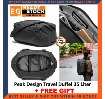Peak Design Travel Duffel 35L 35 Liter Weatherproof 100% Recycled 400d Nylon Canvas Shell With High-visibility Grey Interior