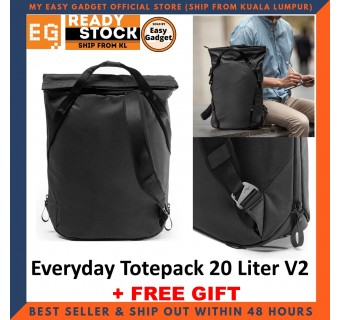Peak Design Everyday Totepack 20L 20 Liter V2 Fast And Secure Access Versatile And Comfortable Carry With Laptop + Tablet Storage