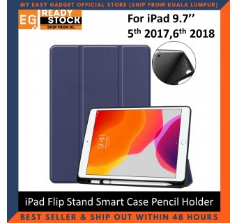 iPad 5th 2017/ 6th 2018 iPad 9.7'' TPU PU Leather Flip Stand Smart Case With Pencil Holder