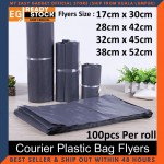 (READY STOCK) S M L XL Courier Plastic Bag Flyers Flyer Bag Packing Post Courier Packaging No Pocket 100pcs
