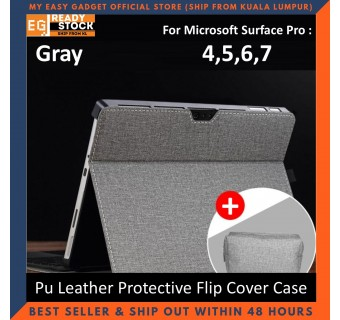 Microsoft Surface Pro 7 6 5 4 Flip Cover Case 12.3''inch Pu Leather Honeycomb Pattern Pc Hard Shell Protective Tablet Case