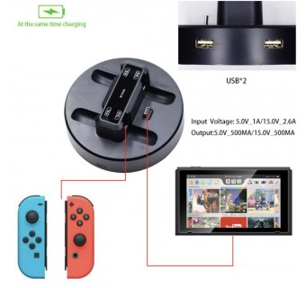 6 in 1 Charging Dock Station Stand for Nintendo Switch Joy-con Pro Controller with 2 USB Ports Charging Indicator light