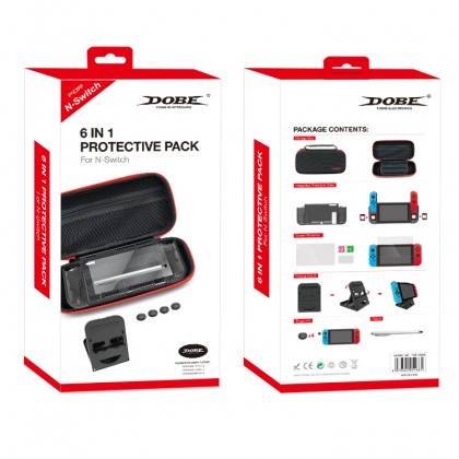Dobe 6 in 1 Protective Pack Storage Bag Integrated Protective Case with Stylus for Nintendo Switch TNS-19286