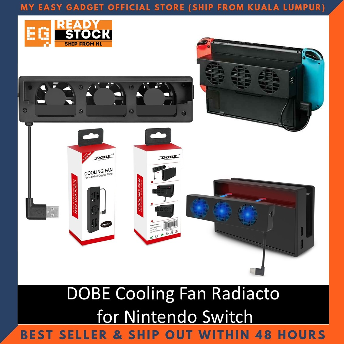 Dobe Nintendo Switch Cooling Fan 3 Fans Stand with USB Input TNS-1719