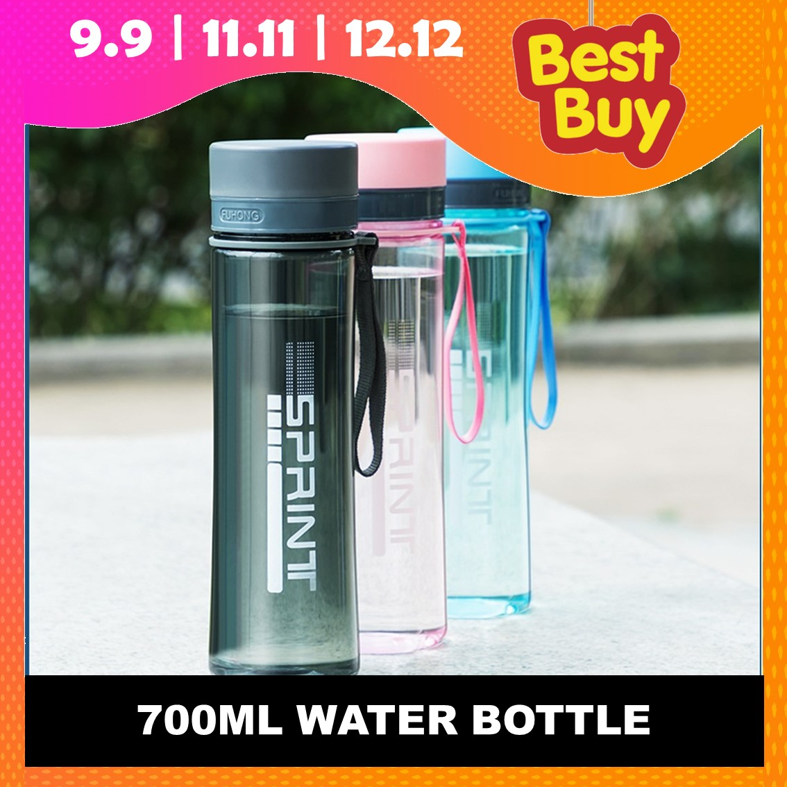 700ML Water Bottle NL Portable Size Transparent Sport Cycling Running Travel Water Bottle Botol Air