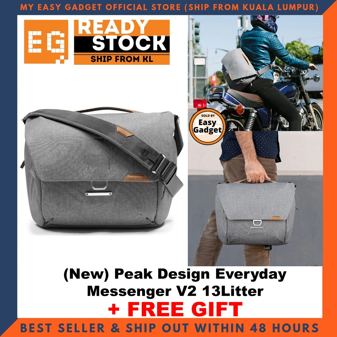 Peak Design Everyday Messenger 13L 13 Liter V2 Overhauled Shoulder Strap Design For Better Comfort + Adjustment, & Elimination Of Slippage