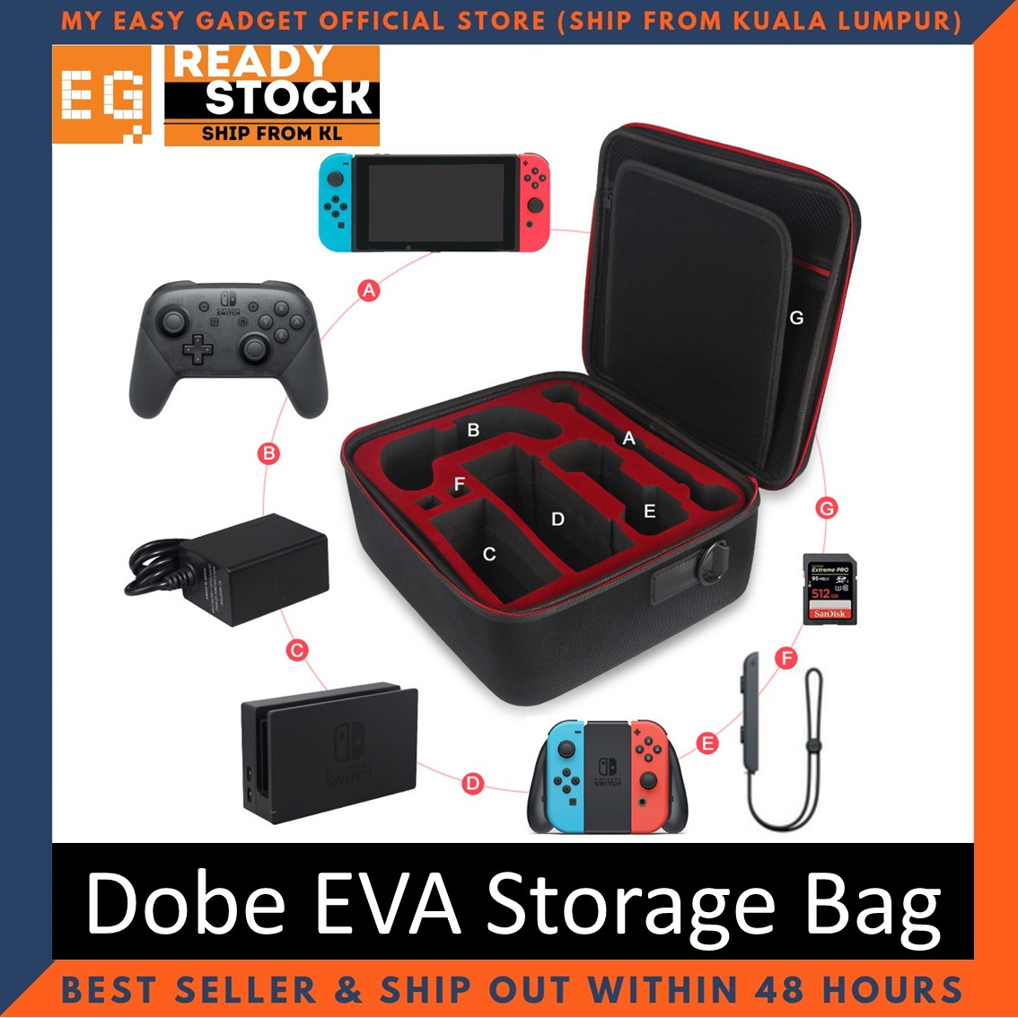 Dobe EVA Storage Bag Carry Case for Nintendo Switch (TNS-1898)