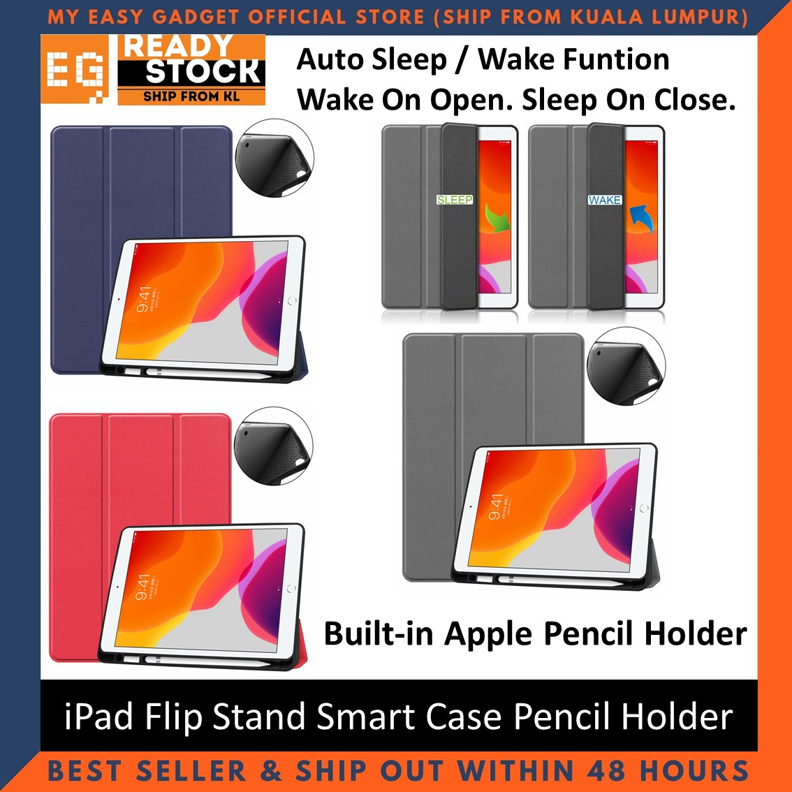 iPad 7th 8th Generation 2019 2020 10.2\'\' TPU PU Leather Flip Stand Smart Case With Pencil Holder