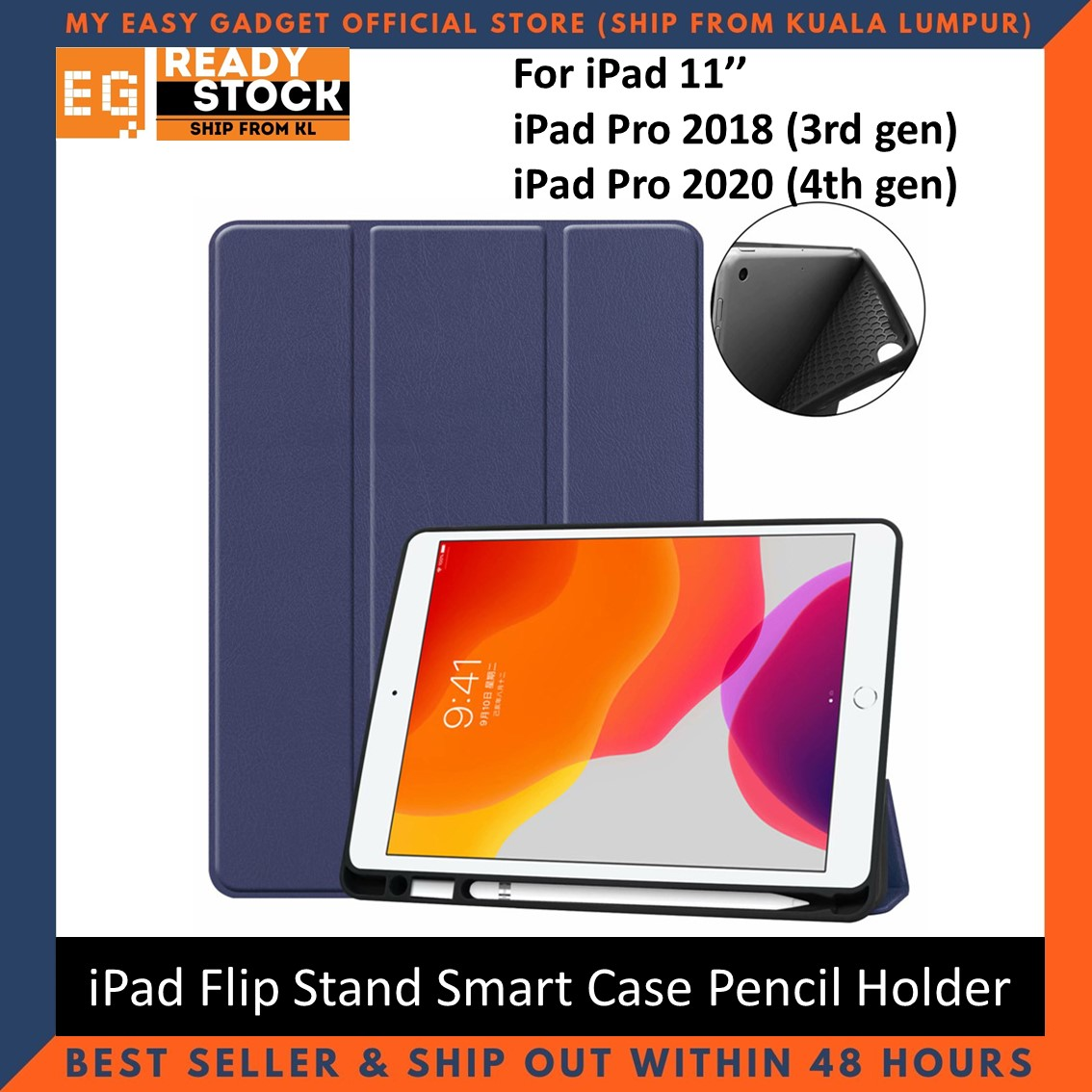 New iPad Pro 11 12.9 2020 & 2018 Case with Pencil Holder Smart Cover Protection Case Flip Cover with Stand
