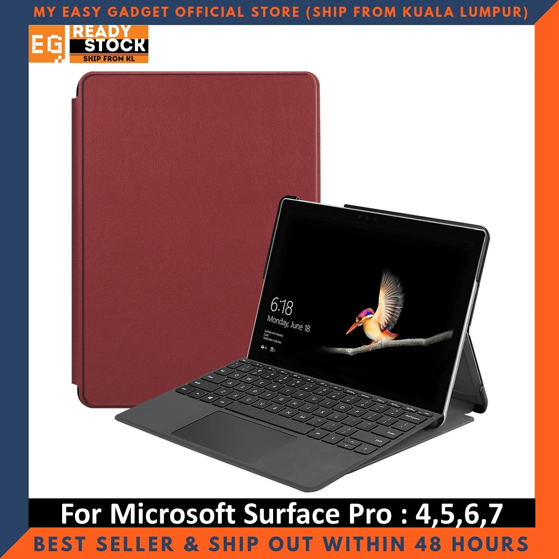 Microsoft Surface Pro 7 6 5 4 Premium Magnetic Smart Cover Leather Case Tablet Stand Trifold Fundas Tempered Glass