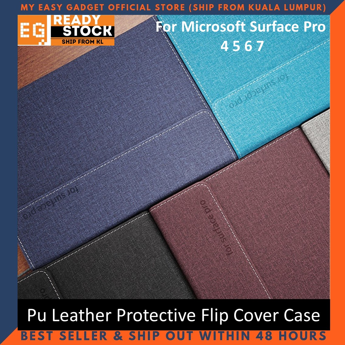 Microsoft Surface Pro 7 6 5 4 Flip Cover Case 12.3\'\'inch Pu Leather Honeycomb Pattern Pc Hard Shell Protective Tablet Case