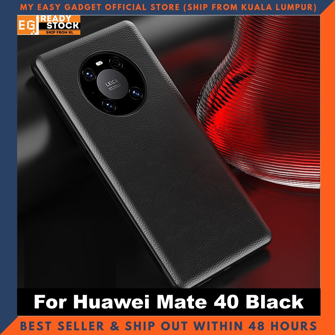 Huawei Mate40 / Mate40 Pro / Mate 40 Pro Plus Case Original Pu Luxury Leather Flip Cover Full Protection Smart Window View Phone Case (Free Tempered Glass)