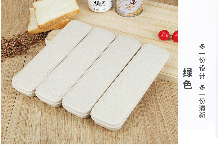 3 In 1 Eco-Wheat Cutlery Set With Box Portable Travel Cutlery Tableware Set Kits