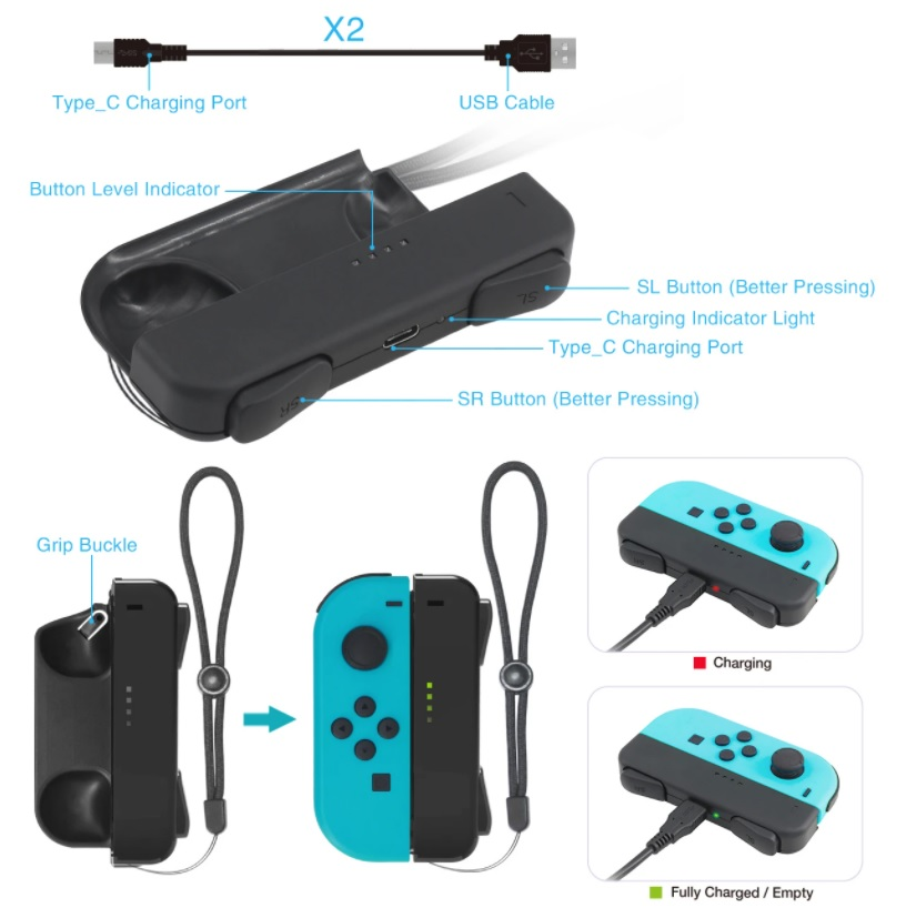 DOBE Gamepad Joystick Charging Grip for Nintendo Switch Joy-Con Game Controller Charger TNS-1729