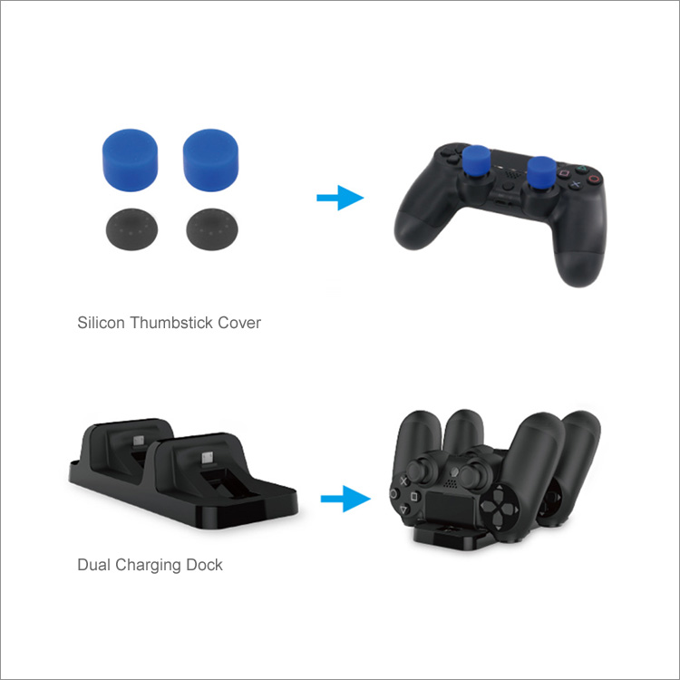 Dobe 5 IN 1 Game Pack Dual Charging Dock / Cable / Headset / Disc Storage Stand / Silicon Cap for PS4 Slim Pro TP4-18101