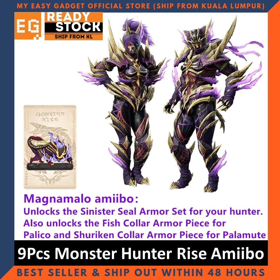 Monster Hunter Rise Amiibo NFC Tag Cards Palamute Palico Magnamalo for Nintendo Switch / Switch lite 9Pcs Mini Card Size