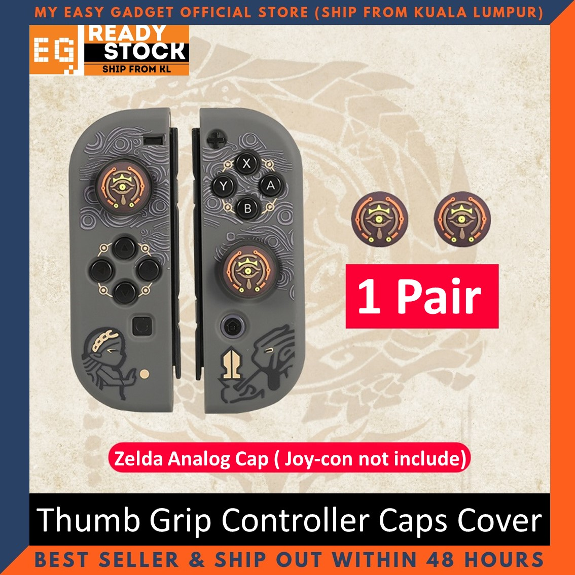 Nintendo Switch Thump Grip Monster Hunter Rise Zelda Silicone Analog Thumb Grips Cap for Joy-con (1 Pair)